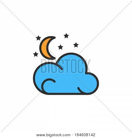Moon stars cloud line icon filled outline vector sign linear colorful pictogram isolated on white. Partly cloudy night weather forecast symbol logo illustration
