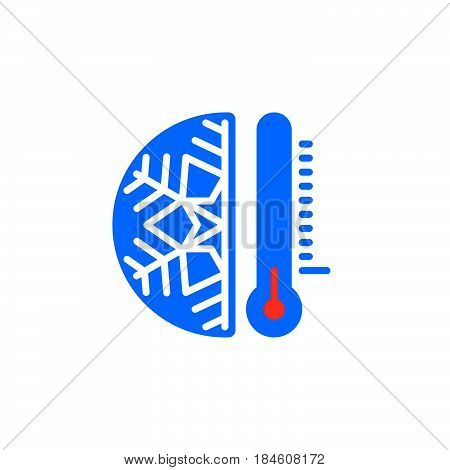 Thermometer and snowflake icon vector filled flat sign solid colorful pictogram isolated on white. Cold temperature symbol logo illustration