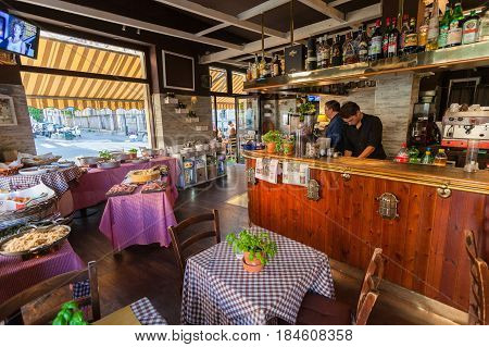 MILAN ITALY - September 06 2016: Inside of traditional Italian cafe during the