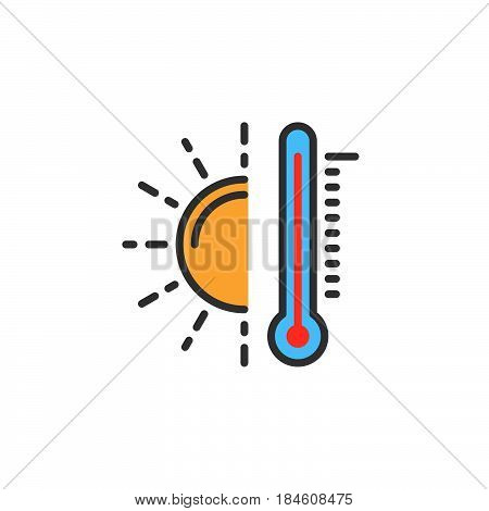 Thermometer and sun line icon filled outline vector sign linear colorful pictogram isolated on white. Hot temperature symbol logo illustration
