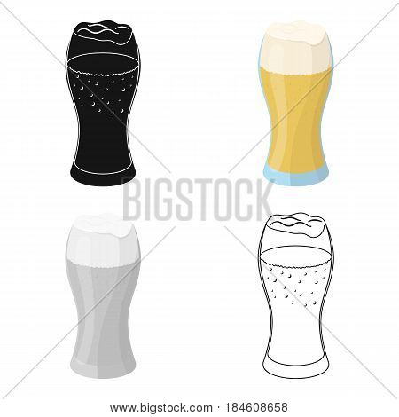A glass of wheat beer with foam.Alcoholic beverage to relax. Pub single icon in cartoon style vector symbol stock web illustration.