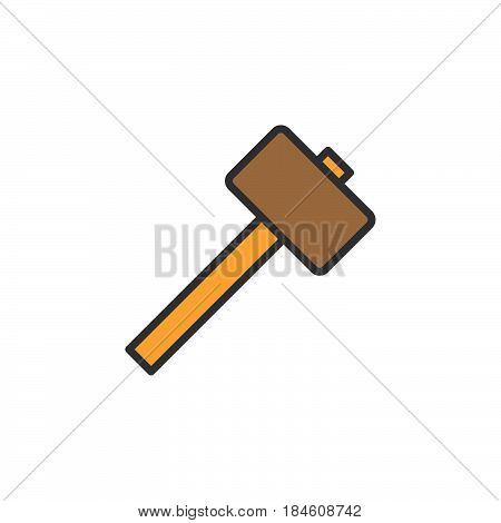 Wooden mallet hammer line icon filled outline vector sign linear colorful pictogram isolated on white. Symbol logo illustration