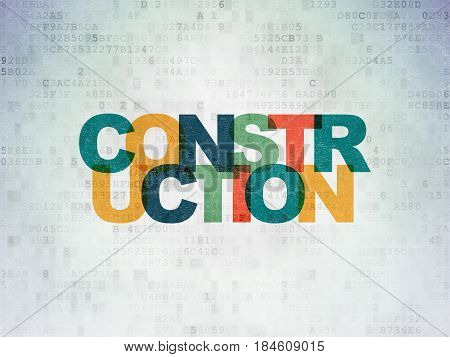 Building construction concept: Painted multicolor text Construction on Digital Data Paper background
