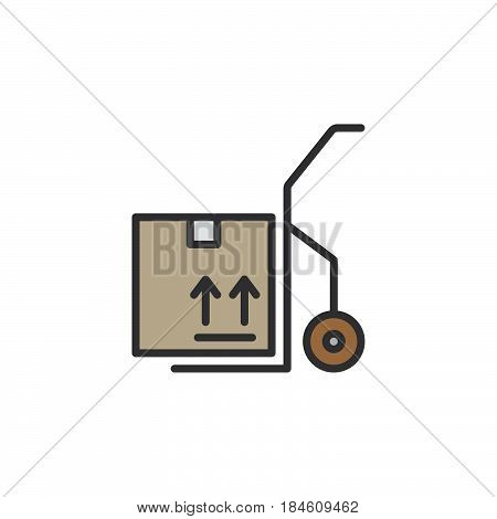 Hand track dolly with box line icon filled outline vector sign linear colorful pictogram isolated on white. Symbol logo illustration