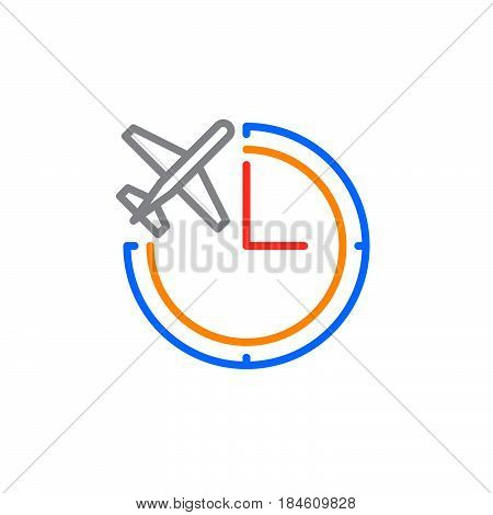 Clock and plane line icon outline vector sign linear colorful pictogram isolated on white. Flight status symbol logo illustration