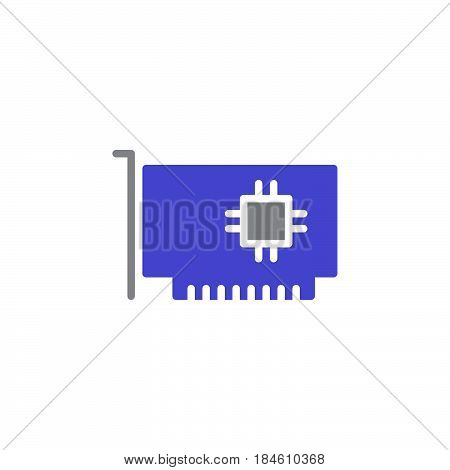 Computer parts hardware icon vector filled flat sign solid colorful pictogram isolated on white. Expansion card symbol logo illustration