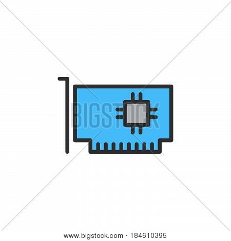 Computer parts hardware line icon filled outline vector sign linear colorful pictogram isolated on white. Expansion card symbol logo illustration