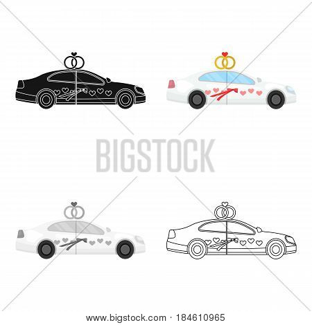 White wedding car with rings. Auto for the bride and groom.Wedding single icon in cartoon style vector symbol stock web illustration.