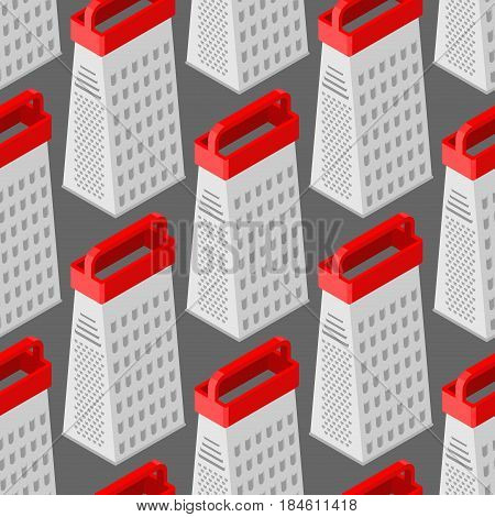 Grater Seamless Pattern. Kitchen Appliances For Grinding Products. Cooking Utensils Background