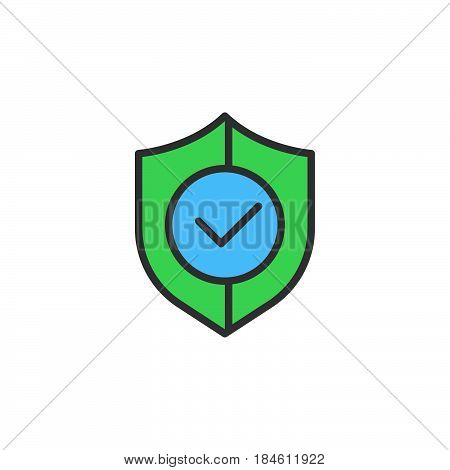 Shield with check mark line icon filled outline vector sign linear colorful pictogram isolated on white. Buyer protection symbol logo illustration