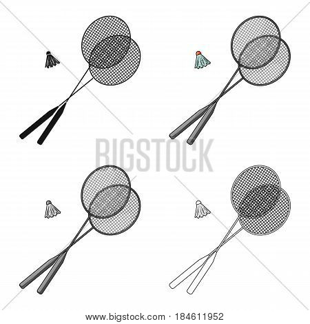Rackets and a shuttlecock for badminton.Summer rest single icon in cartoon style vector symbol stock web illustration.