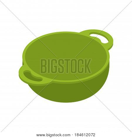 Kitchen Green Empty  Bowls For Food Is Isolated Isometry. Cooking Utensils