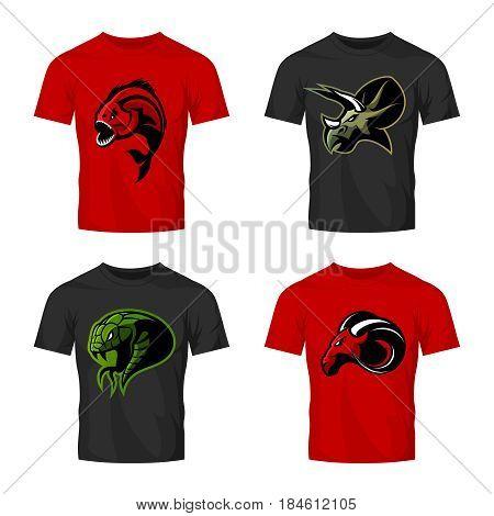 Furious piranha, ram, snake and dinosaur head sport vector logo concept set on t-shirt mockup.  Modern team mascot badge design. Premium quality wild animal t-shirt tee print illustration.