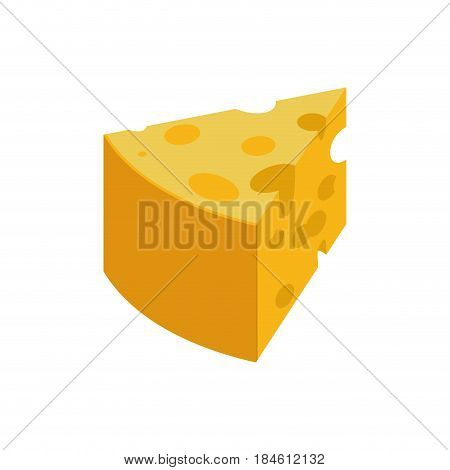 Piece Cheese Isolated. Dairy Product On White Background. Food