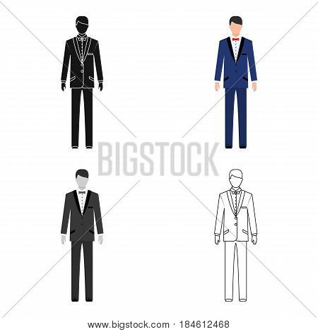 Young groom in a wedding suit.Wedding single icon in cartoon style vector symbol stock web illustration.