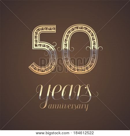 50 years anniversary vector icon symbol. Graphic design element with golden number for 50th anniversary greeting card