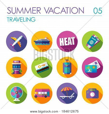 Traveling vector flat icon set. Summer time. Vacation