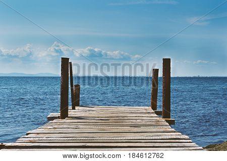 bridge, sea , water , Clouds ,