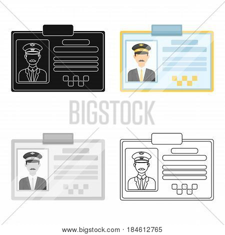 Driver document taxi.Plastik card taxi driver with photo Taxi station single icon in cartoon style vector symbol stock web illustration.