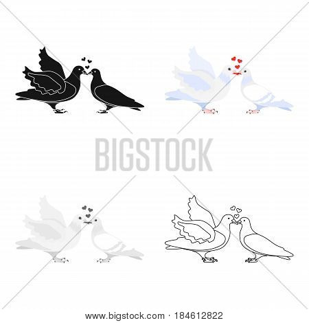 Two funny cartoon pigeons illustration. White doves with a heart. A symbol of love for the bride and groom.Wedding single icon in cartoon style vector symbol stock web illustration.