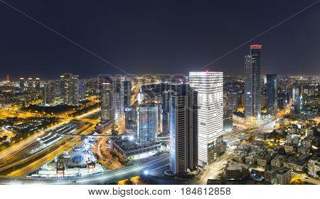 Aerial View - Skyline Panorama Of Tel Aviv And Ramat Gan at Night