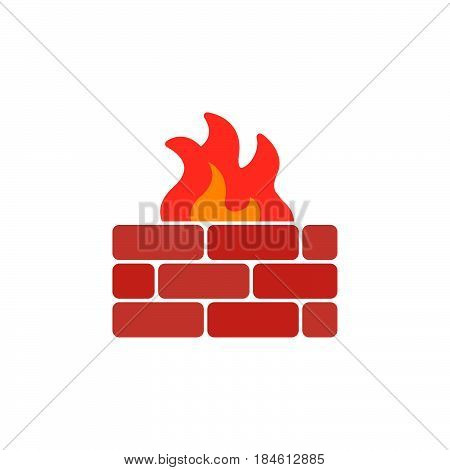 Brick wall and fire icon vector filled flat sign solid colorful pictogram isolated on white. Firewall symbol logo illustration