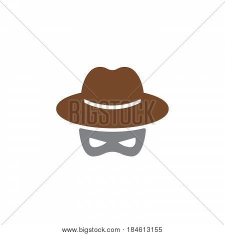 Hat and mask Spy icon vector filled flat sign solid colorful pictogram isolated on white. Spyware symbol logo illustration