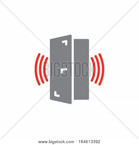Door sensor alarm icon vector filled flat sign solid colorful pictogram isolated on white. Symbol logo illustration