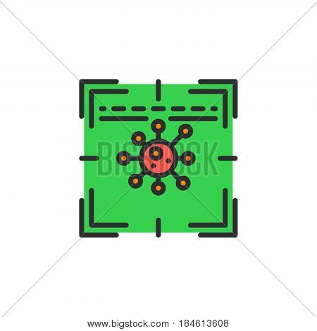 Antivirus scanner line icon filled outline vector sign linear colorful pictogram isolated on white. Symbol logo illustration