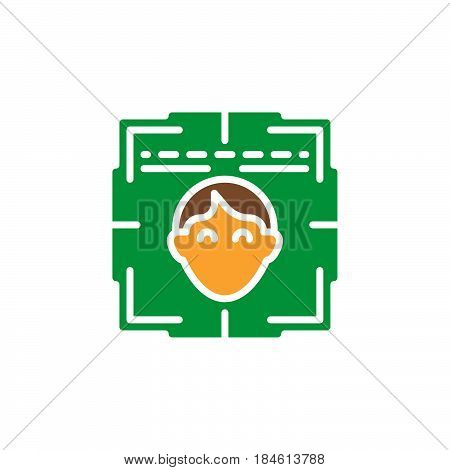 Face recognition system icon vector filled flat sign solid colorful pictogram isolated on white. Symbol logo illustration