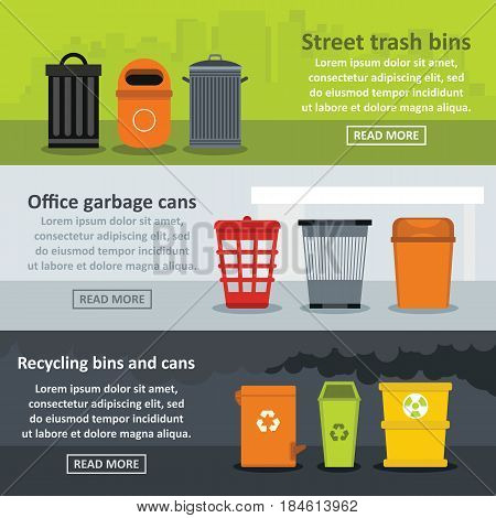 Garbage storage banner horizontal concept set. Flat illustration of 3 garbage storage vector banner horizontal concepts for web
