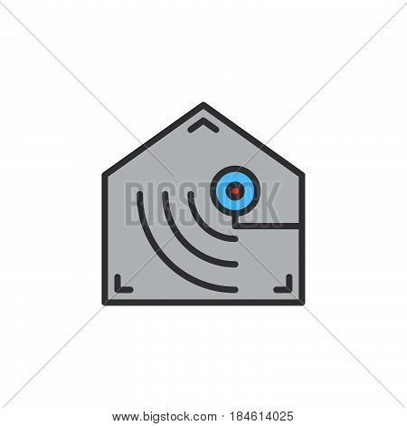 Motion detector line icon filled outline vector sign linear colorful pictogram isolated on white. Indoor camera symbol logo illustration