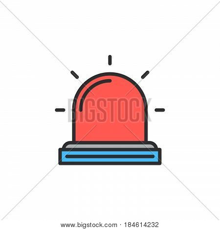 Flasher Alarm lamp line icon filled outline vector sign linear colorful pictogram isolated on white. Symbol logo illustration