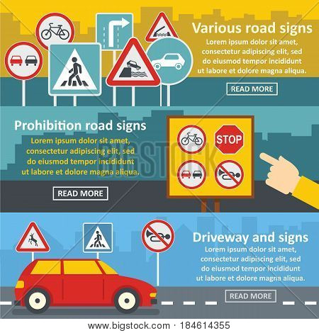 Road sign banner horizontal concept set. Flat illustration of 3 road sign vector banner horizontal concepts for web