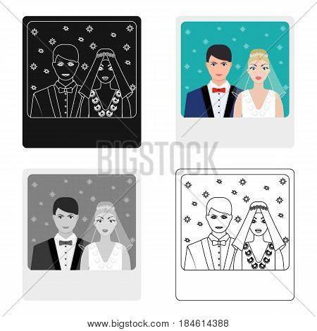 A picture of the bride and groom sees on the wall.Wedding single icon in cartoon style vector symbol stock web illustration.