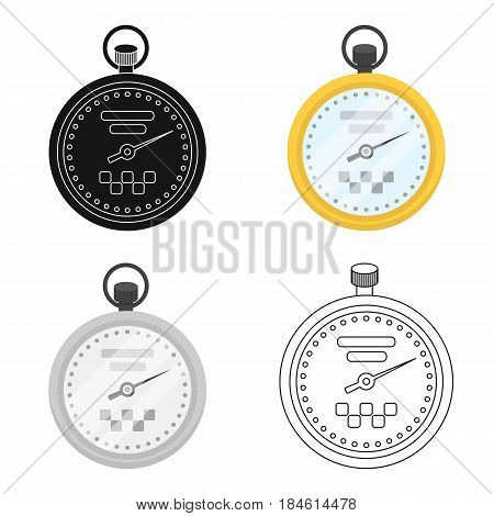 Yellow stopwatch with taxi emblem. Equipment measure the time of filing a taxi. Taxi station single icon in cartoon style vector symbol stock web illustration.