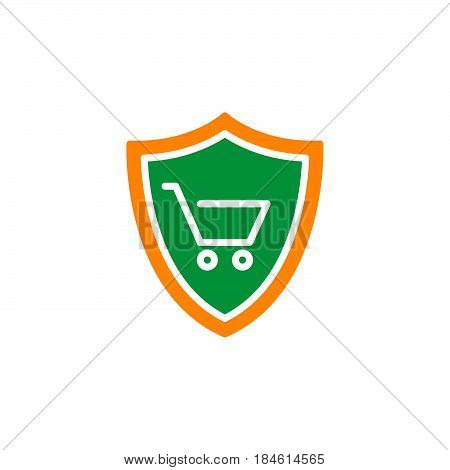 Shield with shopping cart icon vector filled flat sign solid colorful pictogram isolated on white. Buyer Protection symbol logo illustration