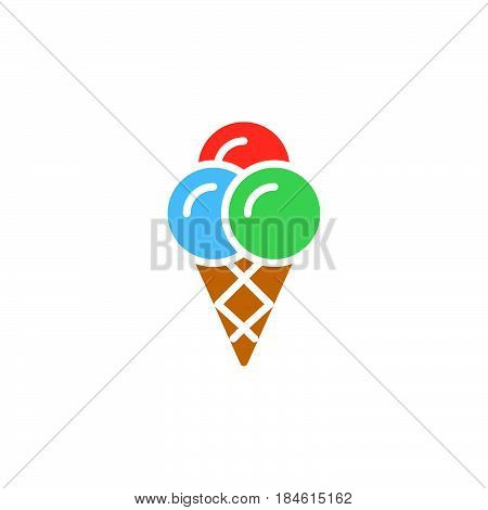 Ice cream cone icon vector filled flat sign solid colorful pictogram isolated on white. Symbol logo illustration