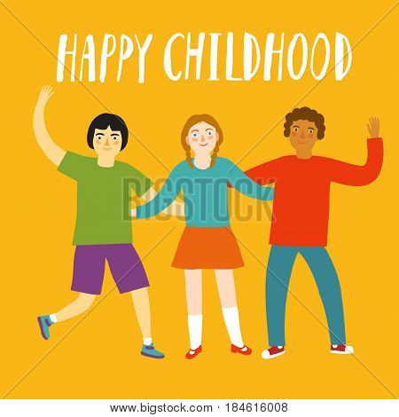 Cheerful kids hugging each other. Happy childhood title. Cartoon illustration about unity for your design.