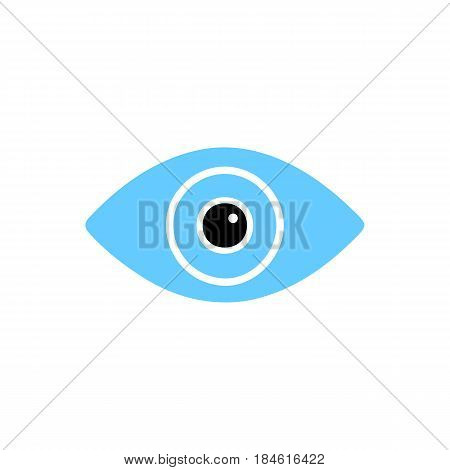Flat colorful eye icon isolated on white background. Minimal eye icon for use in variety of projects. Stylish vector eye icon for web sites and apps.