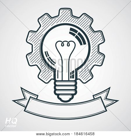 High quality vector light bulb with a cog wheel. Best business idea award icon manufacturing innovation symbol with curvy decorative ribbon. Technical solution conceptual symbol retro graphic gear.