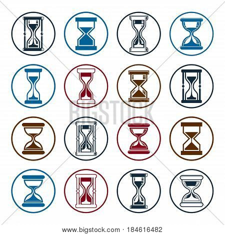 High quality sand-glass vector illustrations. Set of antique classic hourglasses. Retro clocks collection. Time idea stylized icons isolated.