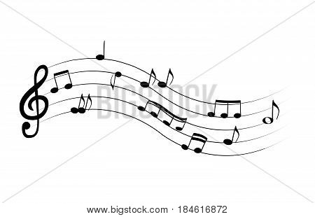 Set of musical notes on five-line clock notation without a feature. Treble clef. Vector Illustration. EPS10