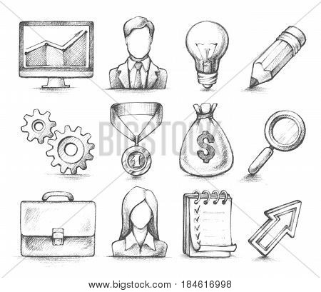 Vector set of sketch hand drawn illustration - Computer, arrow, worker, bag of money, notebook, gears. Stylish design elements, Business icons