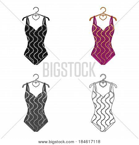 Bright striped swimsuit in the colors of the rainbow. Beach female form.Swimsuits single icon in cartoon style vector symbol stock web illustration.
