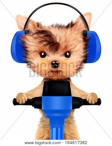 Funny dog with jackhammer and earphone isolated on white background. Fixing computer and repair center concept with cute dog. Concepts for web banners, web sites. 3D illustration with clipping path