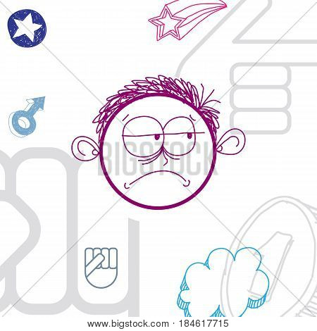 Vector colorful illustration of sad cartoon boy isolated on special background with hand drawn design elements social interaction idea. Facial expressions on teenager face.