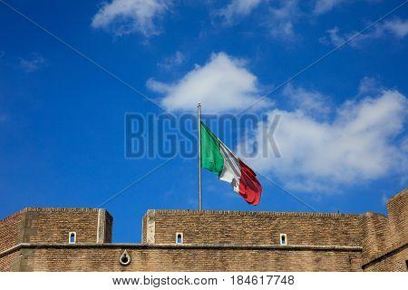 Italian Flag On Top Of Sant Angelo Castel - Rome, Italy