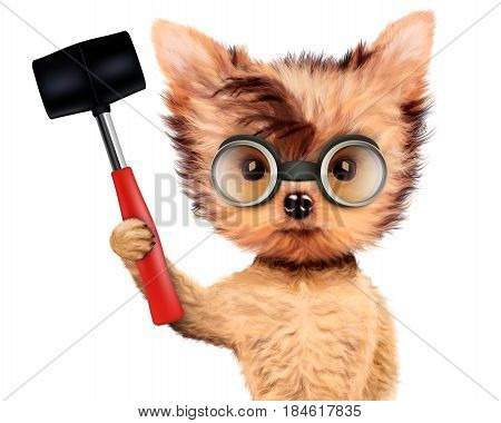 Funny dog in safety glasses with hammer isolated on white background. Concepts for web banners, web sites. Fixing computer and repair center concept with cute dog. 3D illustration with clipping path