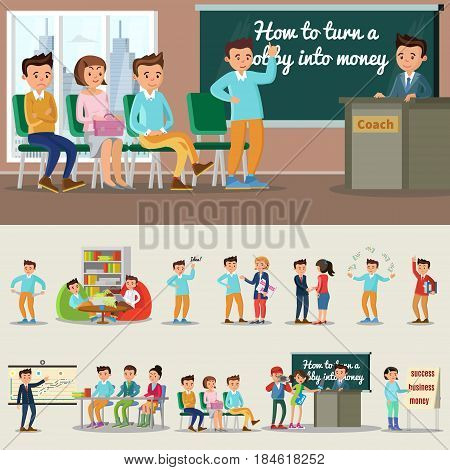 Colorful coaching characters collection with business psychological motivative and personal trainings isolated vector illustration